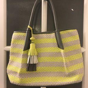 Vince Camuto Neon Yellow & Grey Woven Bag
